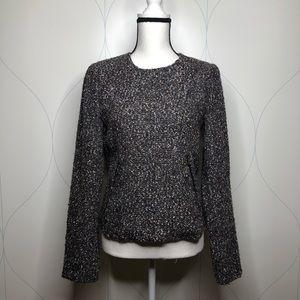 Gap tweed moto style jacket wool blend black small